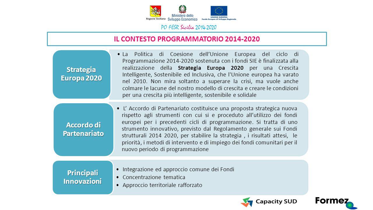 La Politica di Coesione dell'Unione Europea del ciclo di Programmazione 2014-2020 sostenuta con i fondi SIE è finalizzata alla realizzazione della Str
