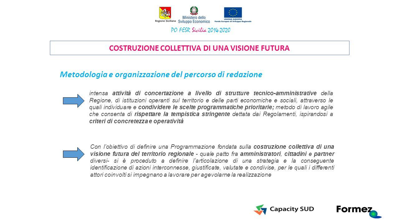 COSTRUZIONE COLLETTIVA DI UNA VISIONE FUTURA intensa attività di concertazione a livello di strutture tecnico-amministrative della Regione, di istituz