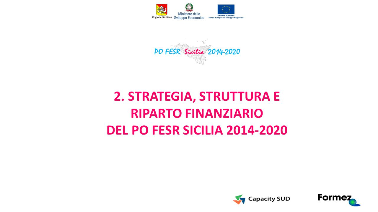 2. STRATEGIA, STRUTTURA E RIPARTO FINANZIARIO DEL PO FESR SICILIA 2014-2020 9