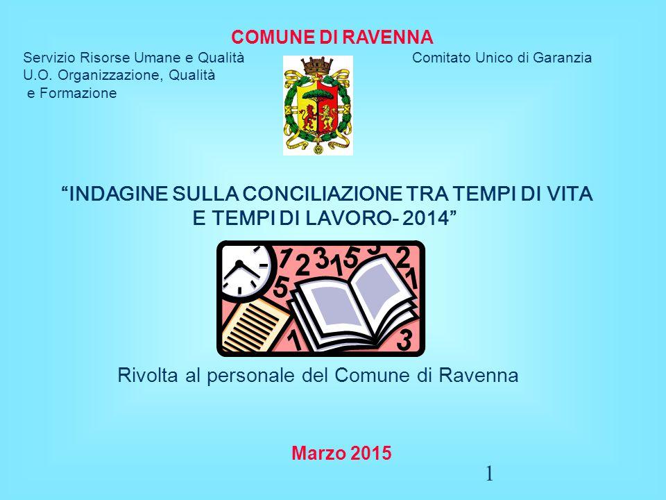 2 DALL'INDAGINE DEL 2011 A QUELLA DEL 2014 Il Comune di Ravenna ha già svolto la prima indagine sulla conciliazione tra tempi di vita e tempi di lavoro nel 2011, a seguito della quale sono state messe in campo alcune azioni di miglioramento per far fronte alle principali criticità evidenziate.