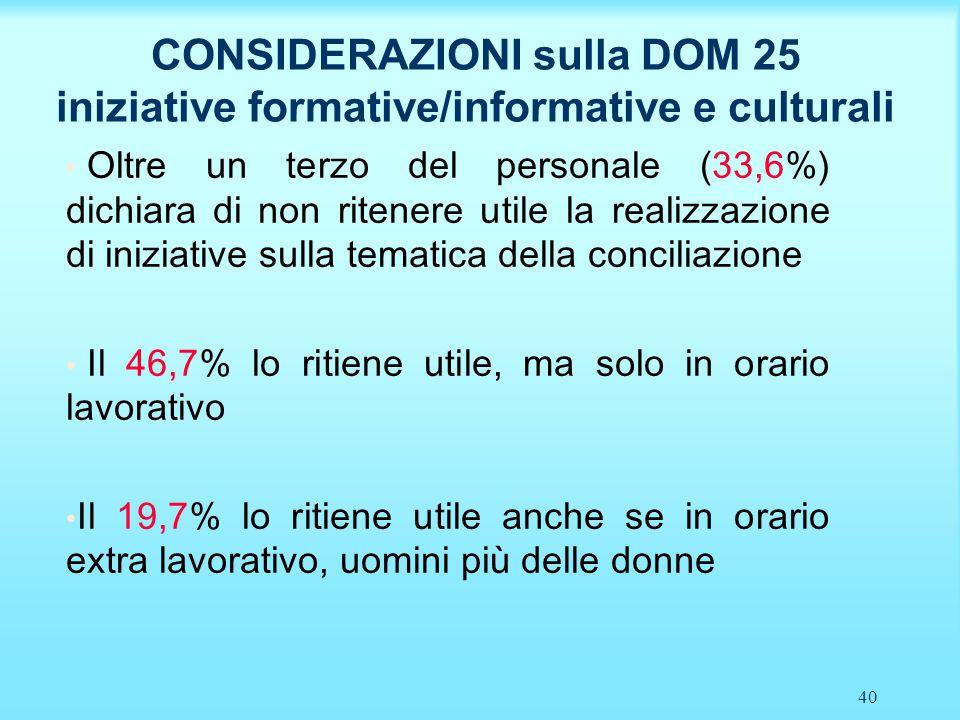 40 CONSIDERAZIONI sulla DOM 25 iniziative formative/informative e culturali Oltre un terzo del personale (33,6%) dichiara di non ritenere utile la rea