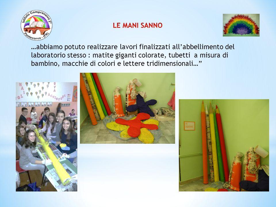 …abbiamo potuto realizzare lavori finalizzati all'abbellimento del laboratorio stesso : matite giganti colorate, tubetti a misura di bambino, macchie