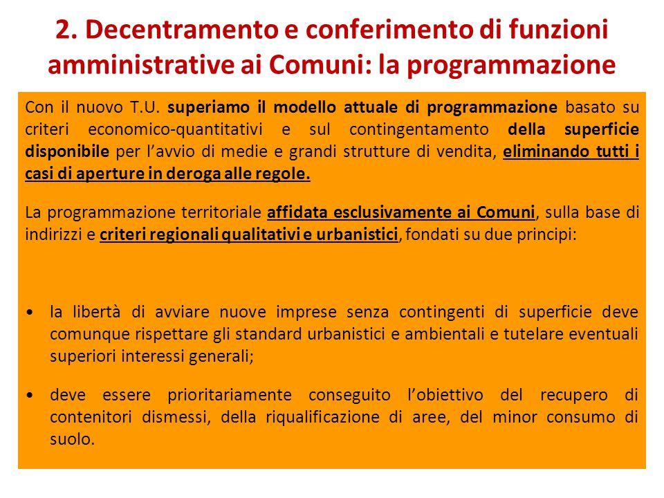2. Decentramento e conferimento di funzioni amministrative ai Comuni: la programmazione Con il nuovo T.U. superiamo il modello attuale di programmazio