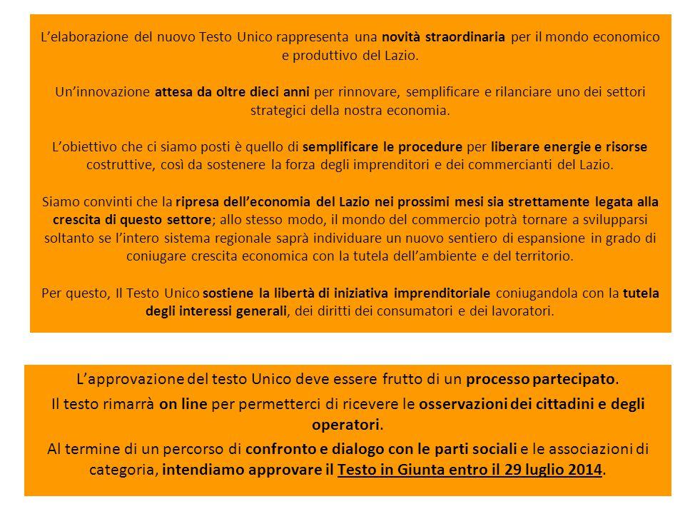 L'elaborazione del nuovo Testo Unico rappresenta una novità straordinaria per il mondo economico e produttivo del Lazio.