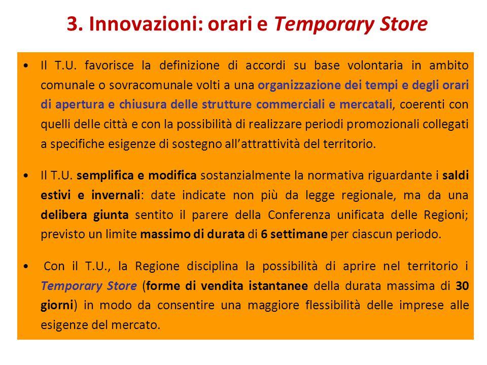 3. Innovazioni: orari e Temporary Store Il T.U.