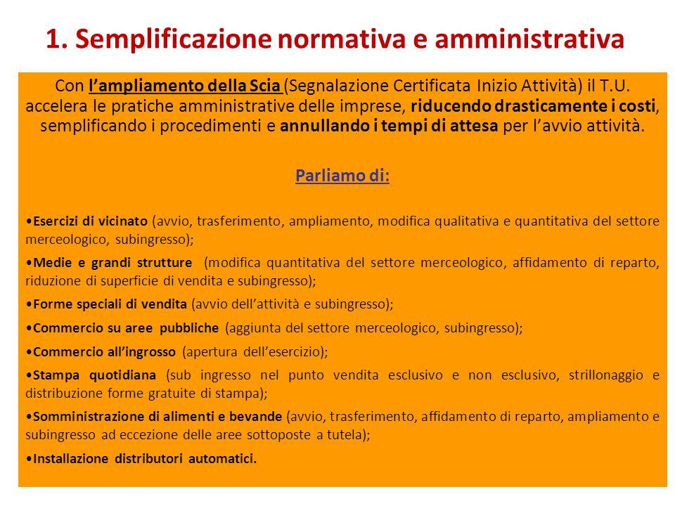 1. Semplificazione normativa e amministrativa Con l'ampliamento della Scia (Segnalazione Certificata Inizio Attività) il T.U. accelera le pratiche amm