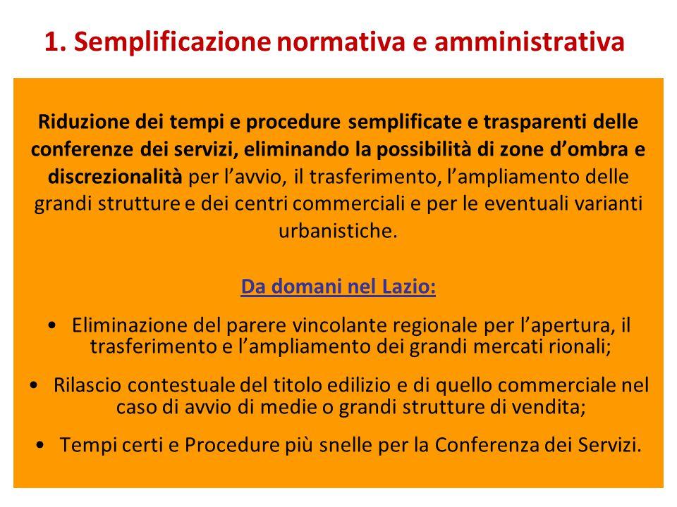 1. Semplificazione normativa e amministrativa Riduzione dei tempi e procedure semplificate e trasparenti delle conferenze dei servizi, eliminando la p