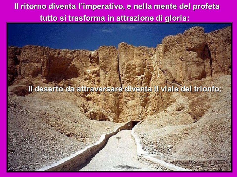 Il ritorno diventa l'imperativo, e nella mente del profeta tutto si trasforma in attrazione di gloria: il deserto da attraversare diventa il viale del trionfo;
