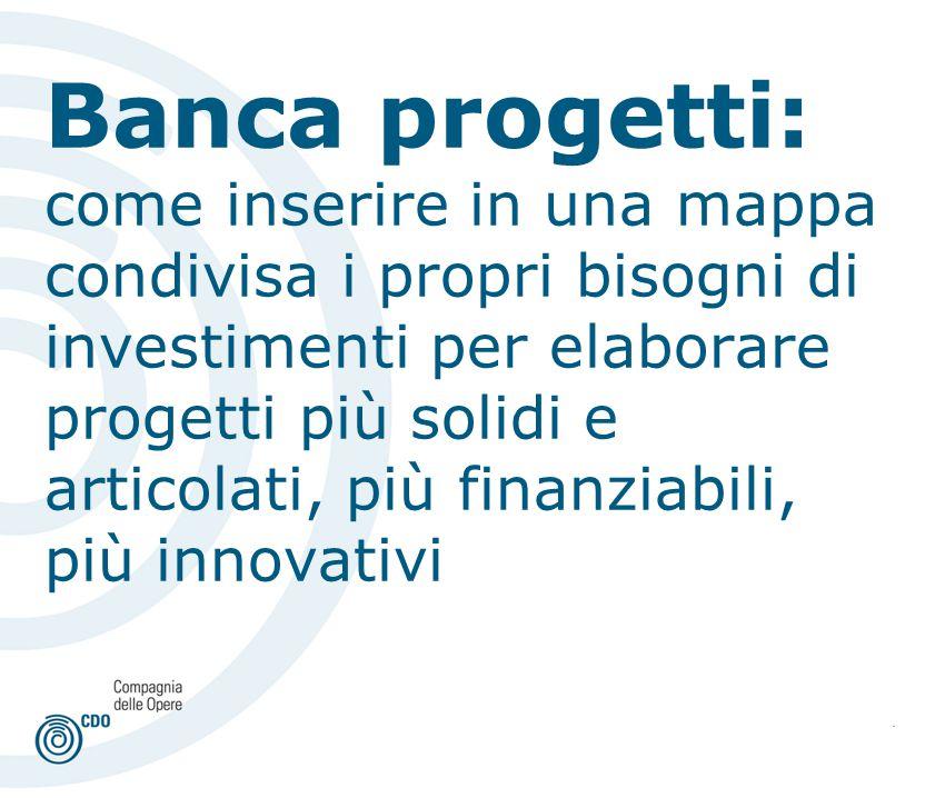. Banca progetti: come inserire in una mappa condivisa i propri bisogni di investimenti per elaborare progetti più solidi e articolati, più finanziabili, più innovativi