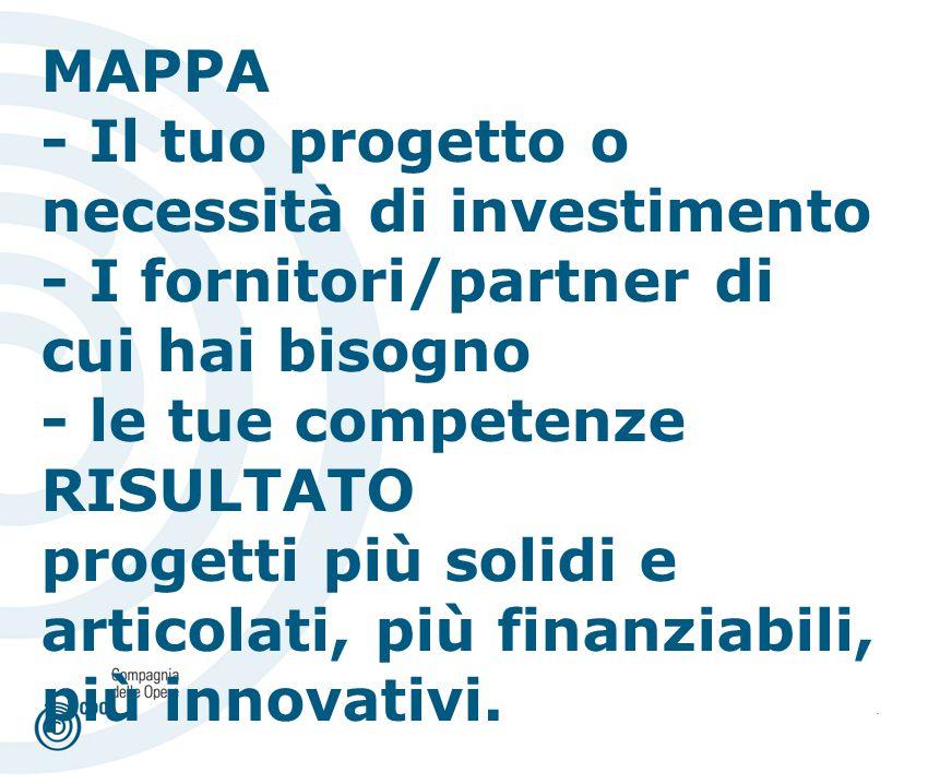 . MAPPA - Il tuo progetto o necessità di investimento - I fornitori/partner di cui hai bisogno - le tue competenze RISULTATO progetti più solidi e articolati, più finanziabili, più innovativi.