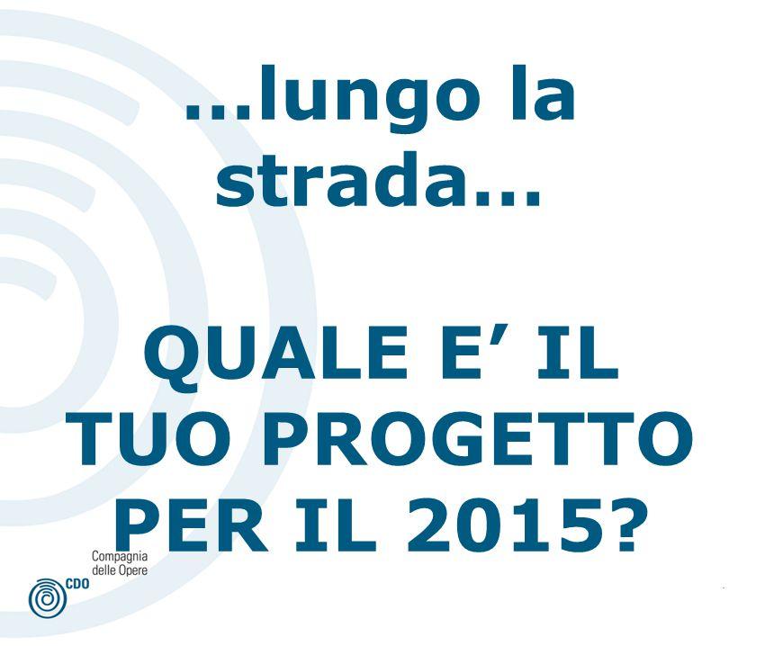 . …lungo la strada… QUALE E' IL TUO PROGETTO PER IL 2015?