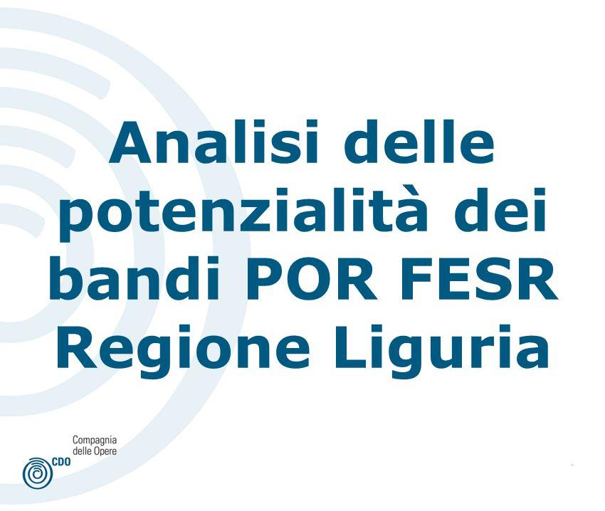 . Analisi delle potenzialità dei bandi POR FESR Regione Liguria
