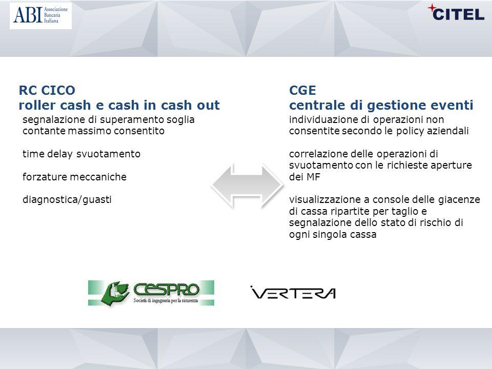 RC CICO roller cash e cash in cash out segnalazione di superamento soglia contante massimo consentito time delay svuotamento forzature meccaniche diag