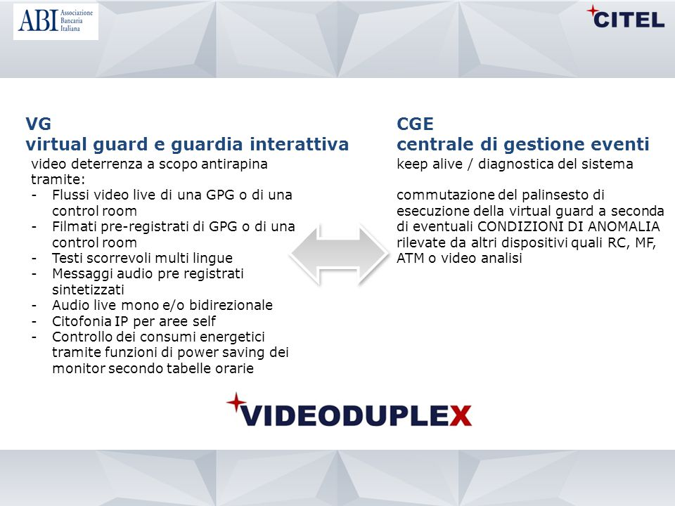 VG virtual guard e guardia interattiva video deterrenza a scopo antirapina tramite: -Flussi video live di una GPG o di una control room -Filmati pre-r