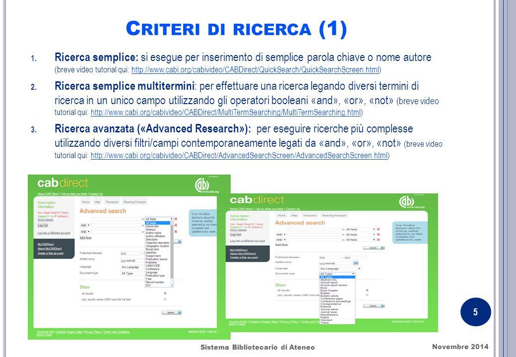 C RITERI DI RICERCA (1) 1.