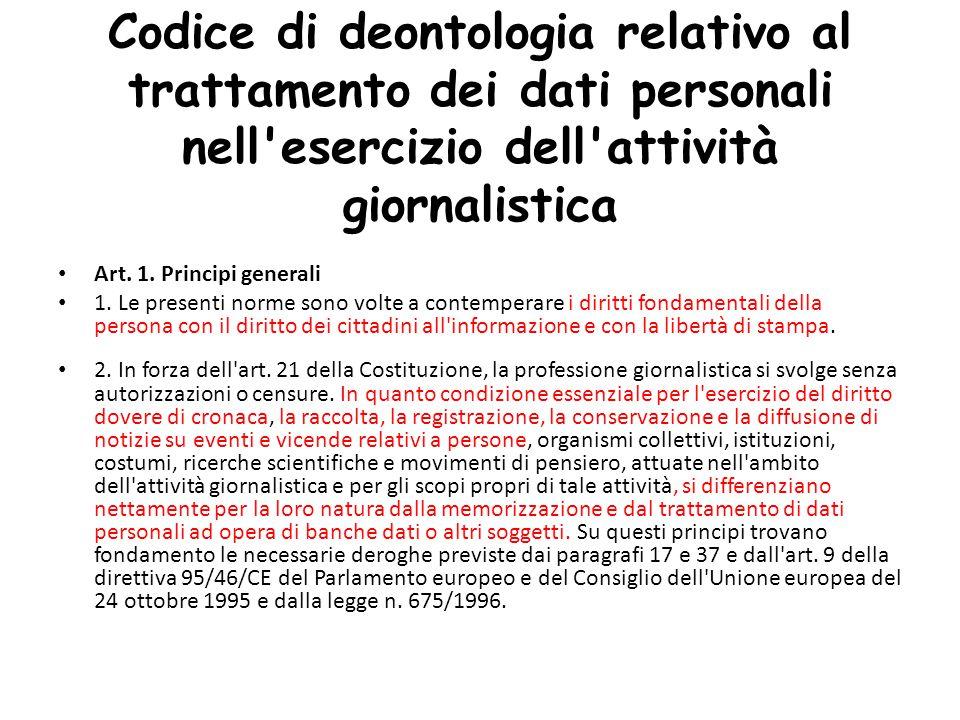 Codice di deontologia relativo al trattamento dei dati personali nell esercizio dell attività giornalistica Art.