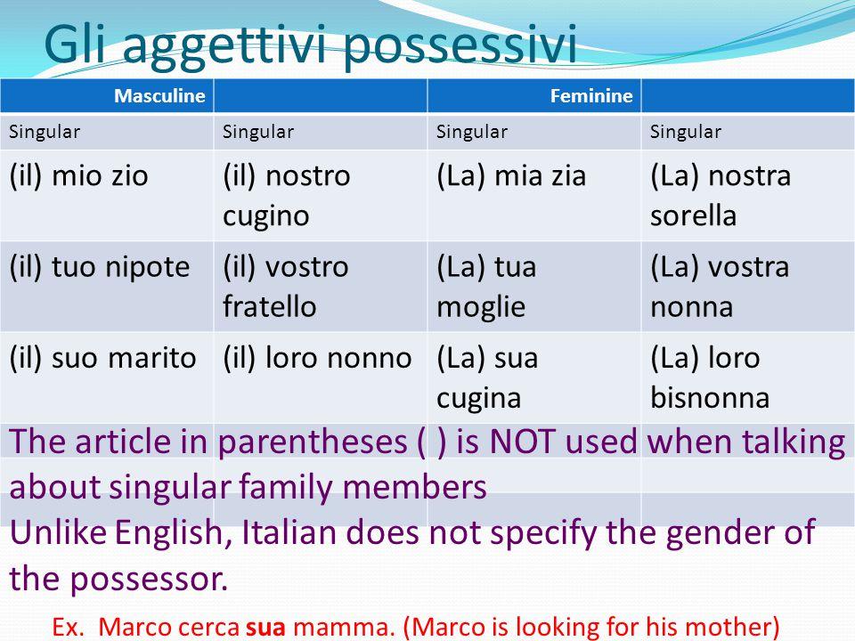 Gli aggettivi possessivi MasculineFeminine Singular (il) mio zio(il) nostro cugino (La) mia zia(La) nostra sorella (il) tuo nipote(il) vostro fratello (La) tua moglie (La) vostra nonna (il) suo marito(il) loro nonno(La) sua cugina (La) loro bisnonna The article in parentheses ( ) is NOT used when talking about singular family members Unlike English, Italian does not specify the gender of the possessor.