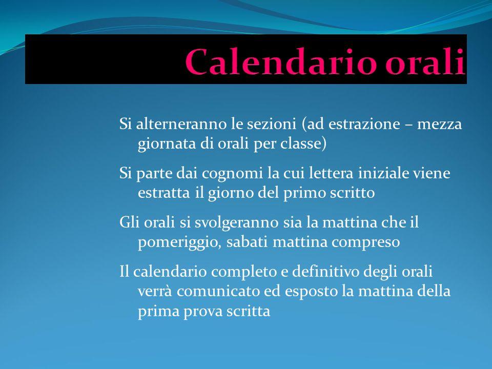 Si alterneranno le sezioni (ad estrazione – mezza giornata di orali per classe) Si parte dai cognomi la cui lettera iniziale viene estratta il giorno