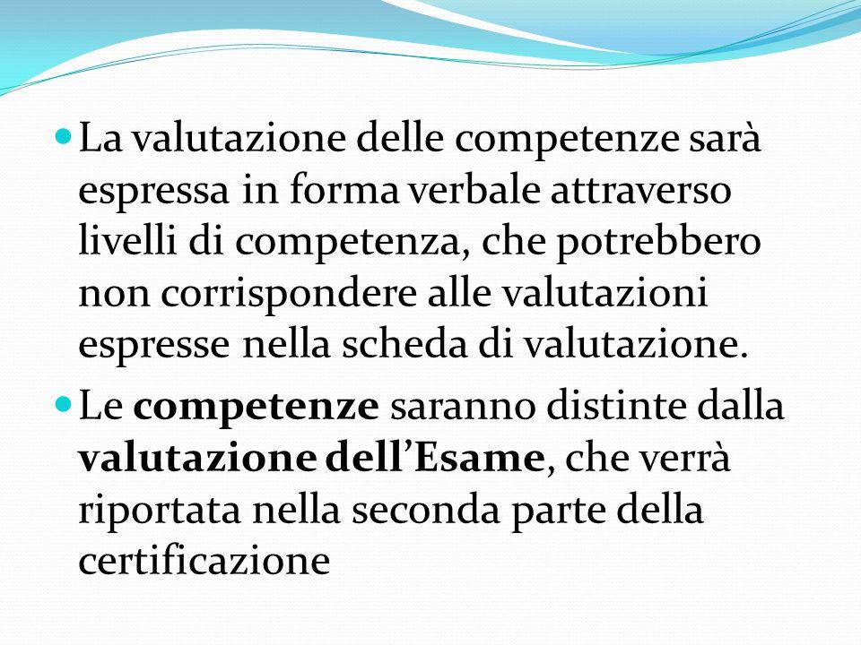 La valutazione delle competenze sarà espressa in forma verbale attraverso livelli di competenza, che potrebbero non corrispondere alle valutazioni esp