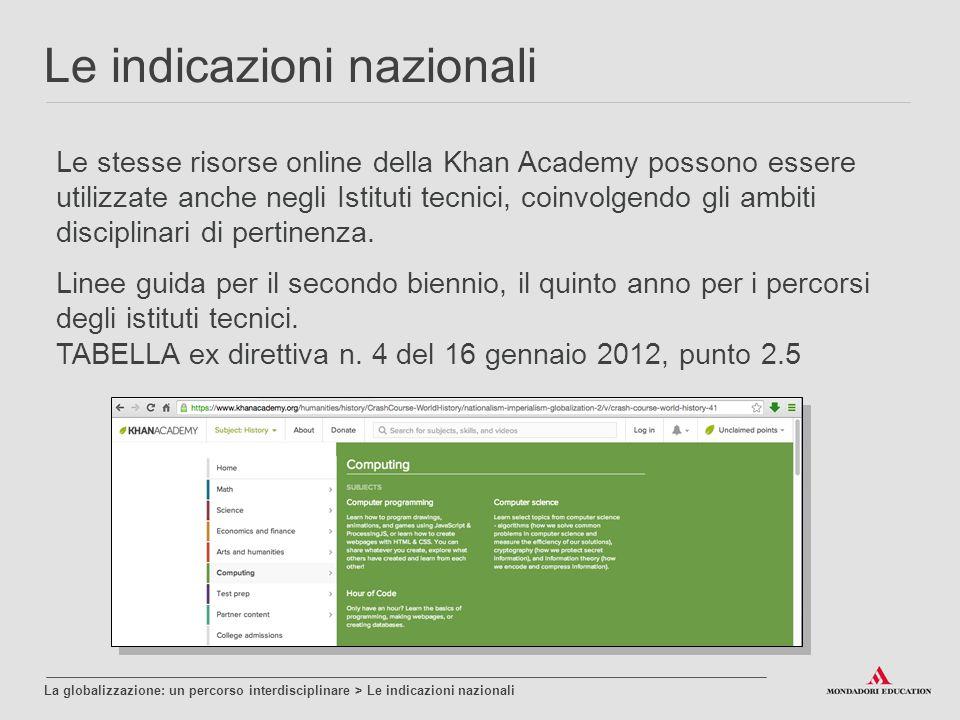 Le stesse risorse online della Khan Academy possono essere utilizzate anche negli Istituti tecnici, coinvolgendo gli ambiti disciplinari di pertinenza.