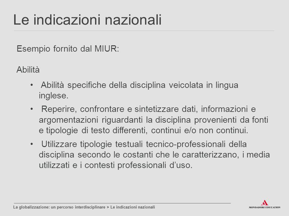 Esempio fornito dal MIUR: Abilità Le indicazioni nazionali La globalizzazione: un percorso interdisciplinare > Le indicazioni nazionali Abilità specifiche della disciplina veicolata in lingua inglese.