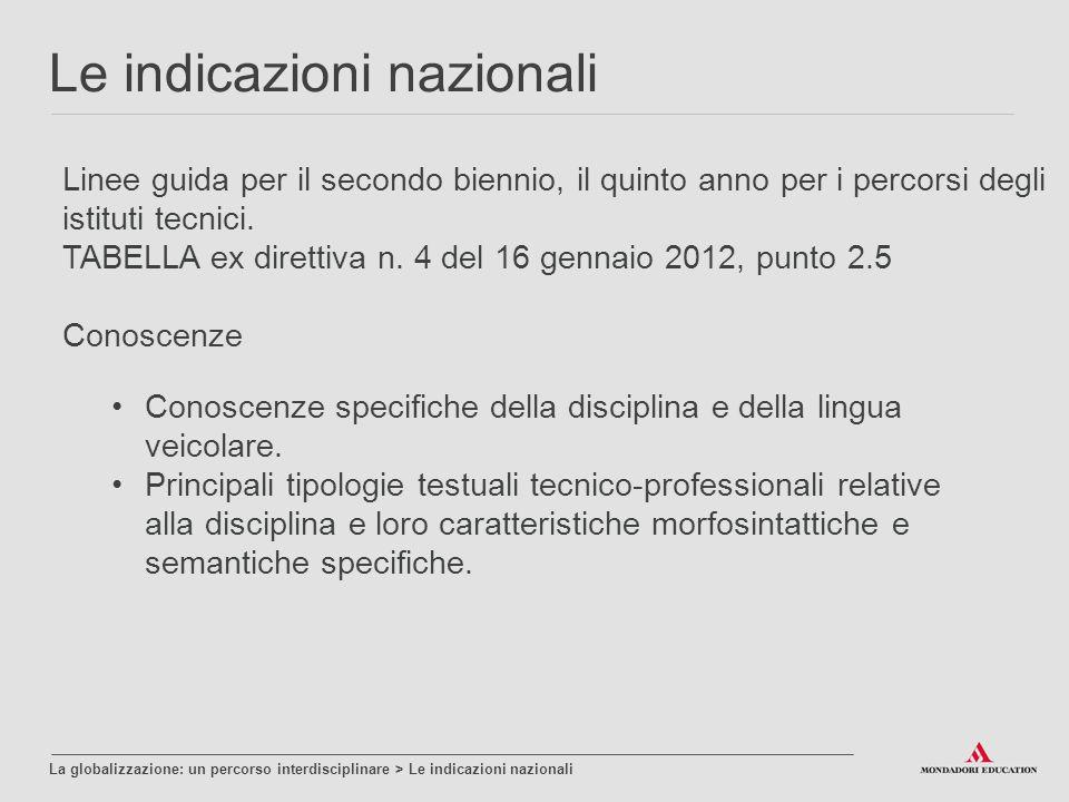 Linee guida per il secondo biennio, il quinto anno per i percorsi degli istituti tecnici.