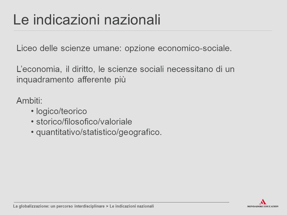 Le indicazioni nazionali La globalizzazione: un percorso interdisciplinare > Le indicazioni nazionali Liceo delle scienze umane: opzione economico-sociale.