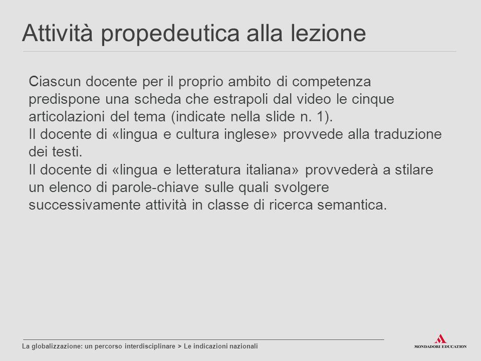 Ciascun docente per il proprio ambito di competenza predispone una scheda che estrapoli dal video le cinque articolazioni del tema (indicate nella slide n.