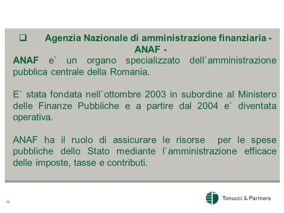 12  Agenzia Nazionale di amministrazione finanziaria - ANAF - ANAF e` un organo specializzato dell`amministrazione pubblica centrale della Romania.