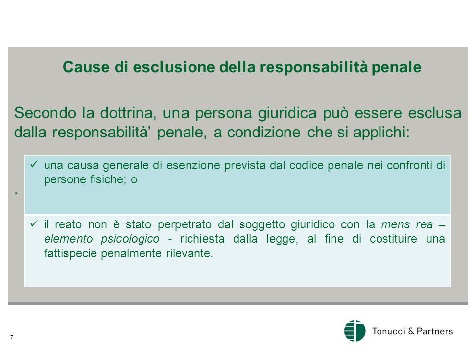 7 Secondo la dottrina, una persona giuridica può essere esclusa dalla responsabilità' penale, a condizione che si applichi:.