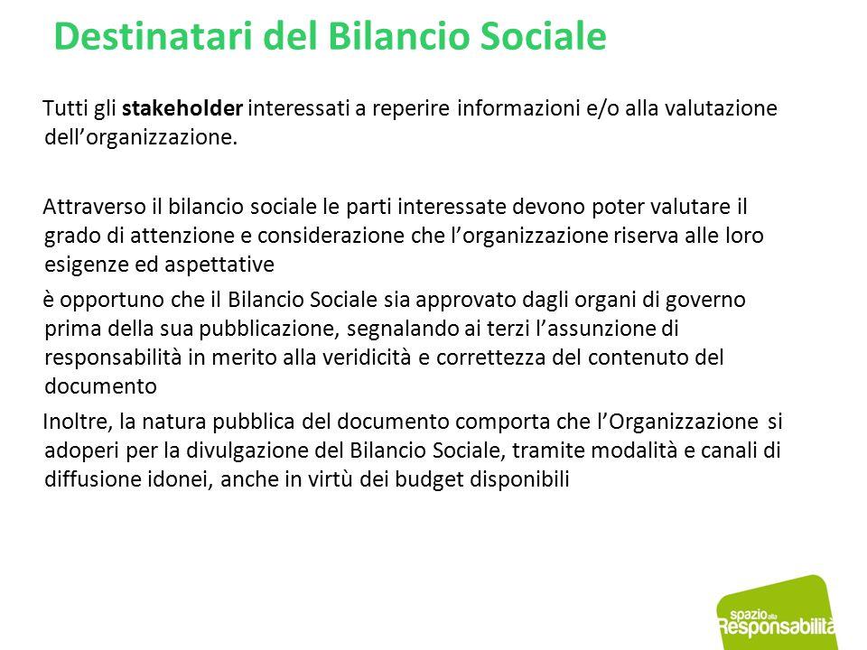 Destinatari del Bilancio Sociale Tutti gli stakeholder interessati a reperire informazioni e/o alla valutazione dell'organizzazione. Attraverso il bil