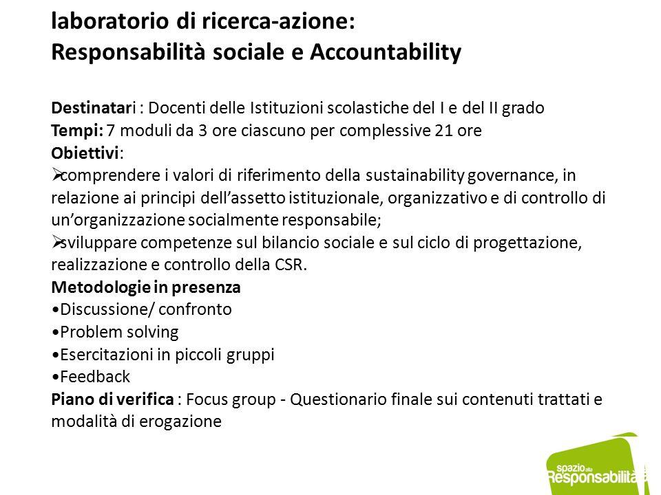 Contenuti per singolo modulo RESPONSABILITÀ SOCIALE: scenari di riferimento  COMPLIANCE/GOVERNANCE  I principi costitutivi della comunità e le Parti interessate.