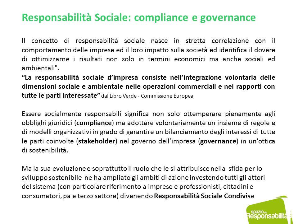 Responsabilità Sociale: compliance e governance Il concetto di responsabilità sociale nasce in stretta correlazione con il comportamento delle imprese