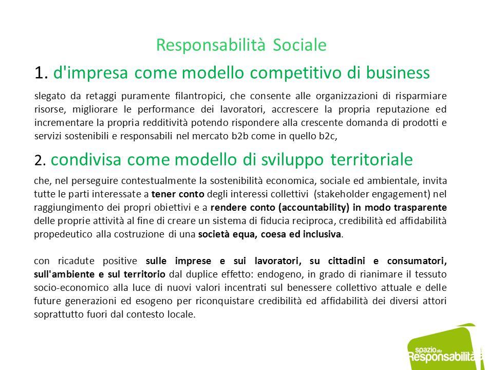 Responsabilità Sociale 1. d'impresa come modello competitivo di business slegato da retaggi puramente filantropici, che consente alle organizzazioni d