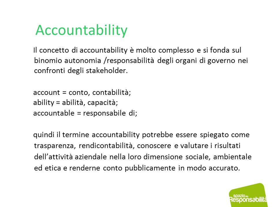 Accountability Il concetto di accountability è molto complesso e si fonda sul binomio autonomia /responsabilità degli organi di governo nei confronti