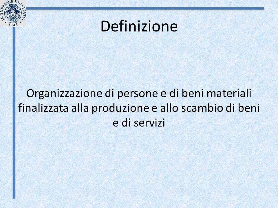 Definizione Organizzazione di persone e di beni materiali finalizzata alla produzione e allo scambio di beni e di servizi