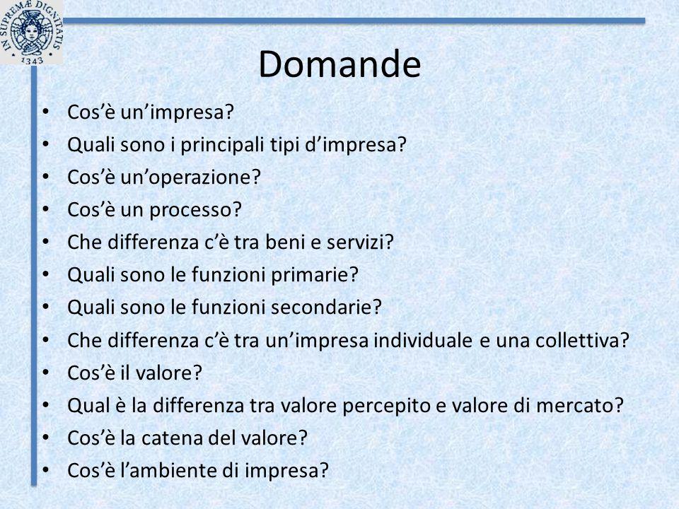 Domande Cos'è un'impresa? Quali sono i principali tipi d'impresa? Cos'è un'operazione? Cos'è un processo? Che differenza c'è tra beni e servizi? Quali