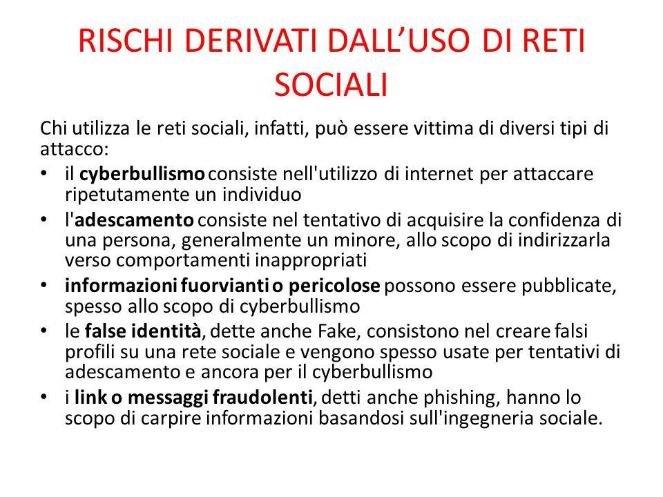 RISCHI DERIVATI DALL'USO DI RETI SOCIALI Chi utilizza le reti sociali, infatti, può essere vittima di diversi tipi di attacco: il cyberbullismo consis