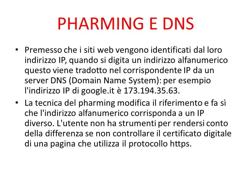 PHARMING E DNS Premesso che i siti web vengono identificati dal loro indirizzo IP, quando si digita un indirizzo alfanumerico questo viene tradotto ne