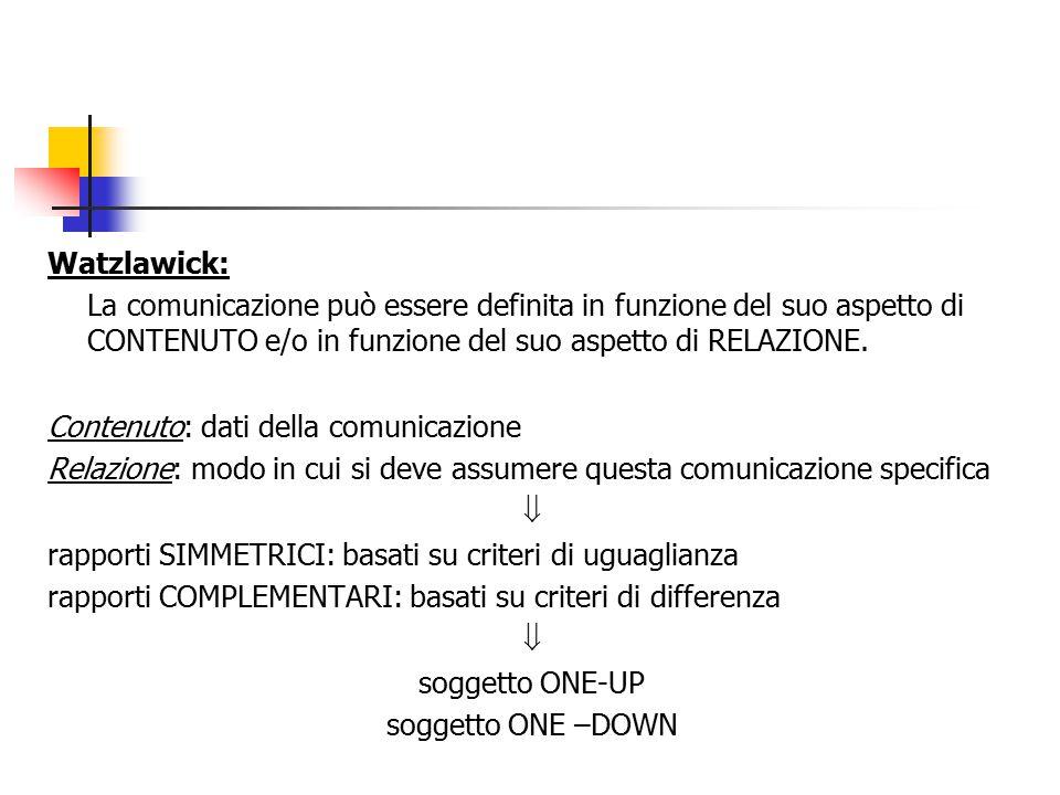 Watzlawick: La comunicazione può essere definita in funzione del suo aspetto di CONTENUTO e/o in funzione del suo aspetto di RELAZIONE. Contenuto: dat