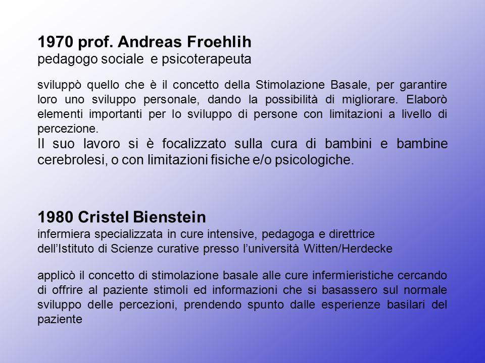 1970 prof. Andreas Froehlih pedagogo sociale e psicoterapeuta sviluppò quello che è il concetto della Stimolazione Basale, per garantire loro uno svil
