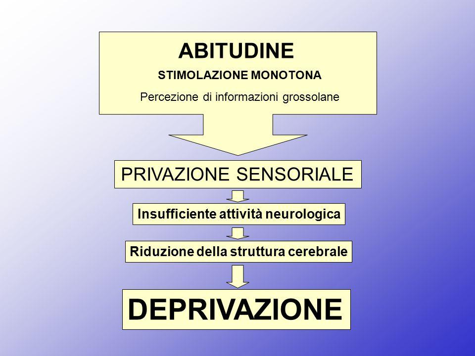 STIMOLAZIONE MONOTONA Percezione di informazioni grossolane ABITUDINE PRIVAZIONE SENSORIALE Insufficiente attività neurologica Riduzione della struttu