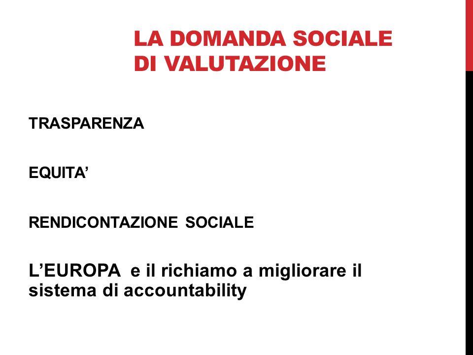 LA DOMANDA SOCIALE DI VALUTAZIONE TRASPARENZA EQUITA' RENDICONTAZIONE SOCIALE L'EUROPA e il richiamo a migliorare il sistema di accountability