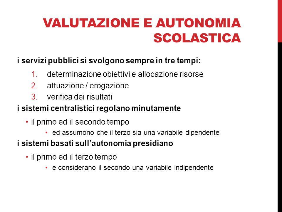 VALUTAZIONE E AUTONOMIA SCOLASTICA i servizi pubblici si svolgono sempre in tre tempi: 1.determinazione obiettivi e allocazione risorse 2.attuazione /