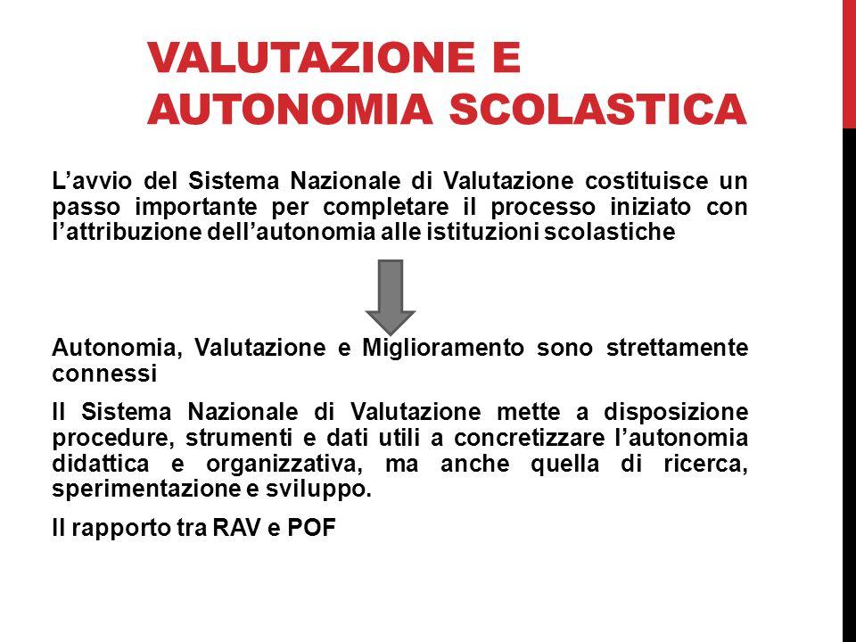 VALUTAZIONE E AUTONOMIA SCOLASTICA L'avvio del Sistema Nazionale di Valutazione costituisce un passo importante per completare il processo iniziato co