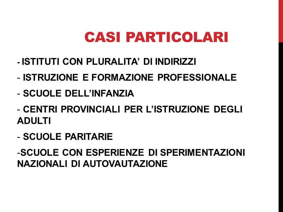 CASI PARTICOLARI - ISTITUTI CON PLURALITA' DI INDIRIZZI - ISTRUZIONE E FORMAZIONE PROFESSIONALE - SCUOLE DELL'INFANZIA - CENTRI PROVINCIALI PER L'ISTR