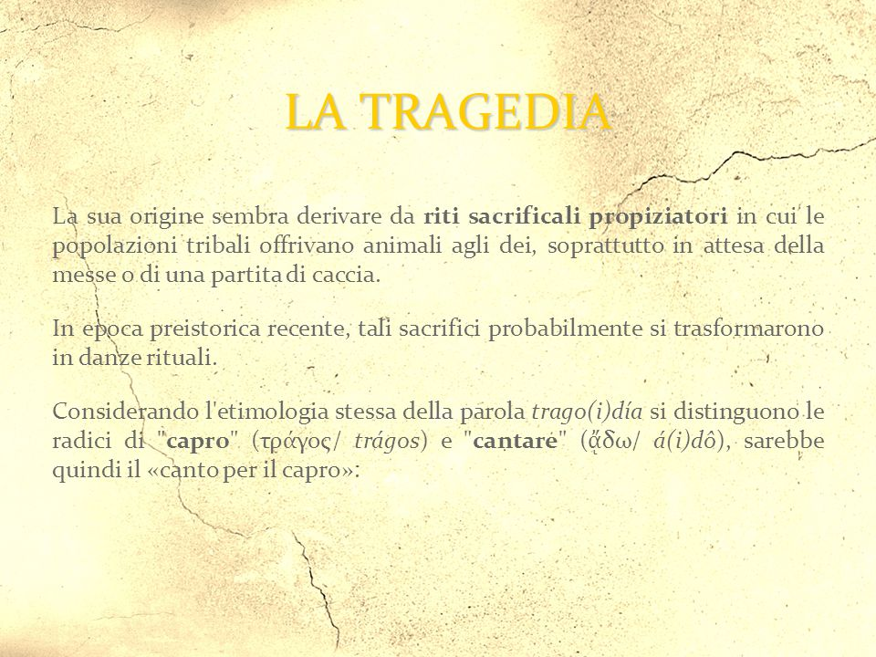 catarsi Aristotele nella Poetica dice che tramite le forti vicende rappresentate sulla scena dalla tragedia avviene un liberatorio distacco dalle passioni → catarsi.