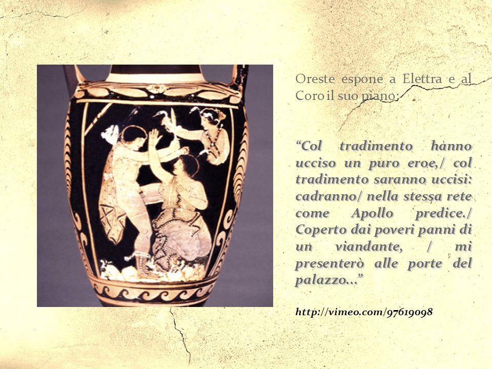 Argo, in un anno non precisato dopo la morte di Agamennone. Oreste è tornato in compagnia di Pilade e davanti alla tomba del padre scorge un corteo di