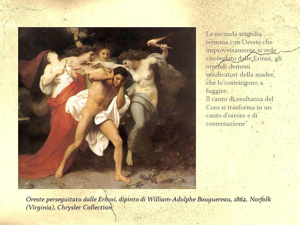"""Oreste espone a Elettra e al Coro il suo piano: """"Col tradimento hanno ucciso un puro eroe,/ col tradimento saranno uccisi: cadranno/ nella stessa rete"""