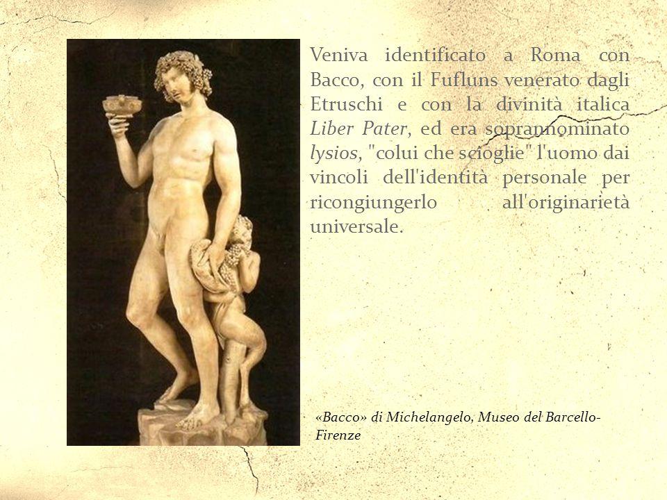 «Dioniso» di Caravaggio, Galleria degli Uffizzi- Firenze Dioniso in origine era un dio arcaico della vegetazione. Successivamente venne identificato i